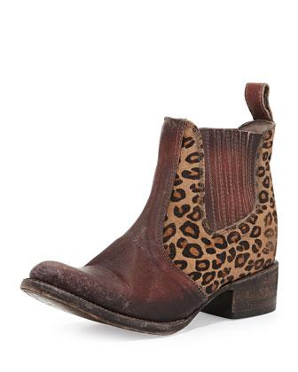 Lasso Calf Hair Bootie, Leopard