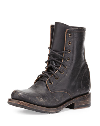 Charlie Leather Combat Boot, Black