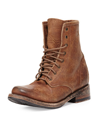 Charlie Leather Combat Boot, Tan
