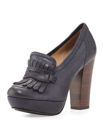 Naiya Leather Loafer Pump, Navy