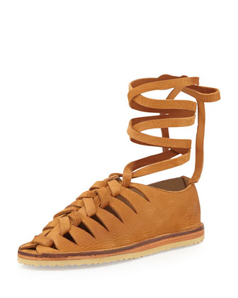 Holly Nubuck Gladiator Flat, Camel