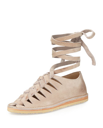 Holly Nubuck Gladiator Flat, Blush