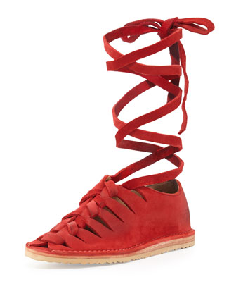 Holly Nubuck Gladiator Flat, Red