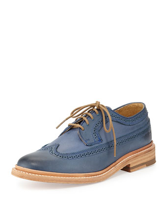 James Leather Wing-Tip Oxford, Ocean