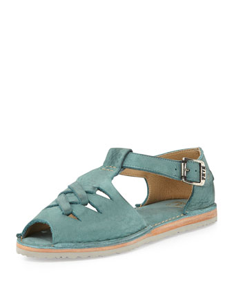 Holly Braided Leather Sandal, Turquoise
