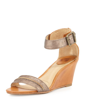Carol Leather Wedge Sandal, Bronze