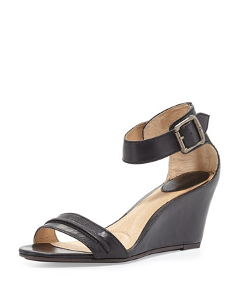 Carol Leather Wedge Sandal, Black