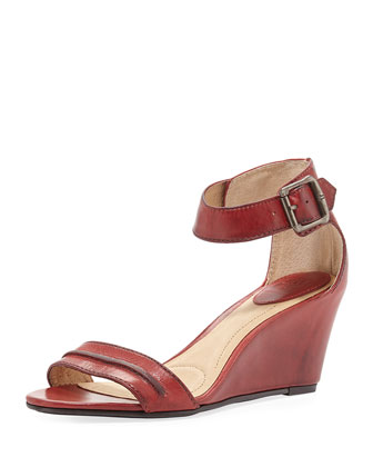 Carol Leather Wedge Sandal, Burnt Red