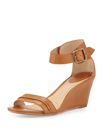 Carol Leather Wedge Sandal, Mustard