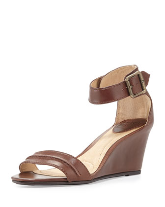 Carol Leather Wedge Sandal, Redwood