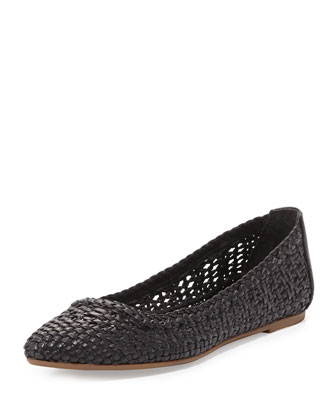 Regina Woven Leather Ballet Flat, Black