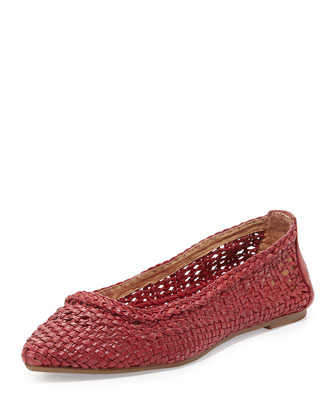 Regina Woven Leather Ballet Flat, Burnt Red