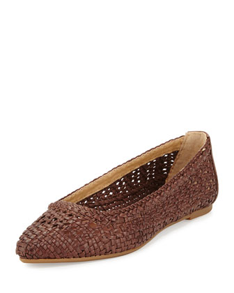Regina Woven Leather Skimmer Flat, Dark Brown