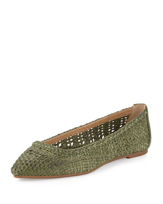Regina Woven Leather Ballet Flat, Green