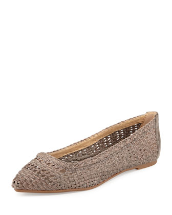 Regina Woven Leather Ballet Flat, Gray