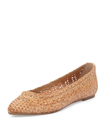 Regina Woven Leather Ballet Flat, Natural