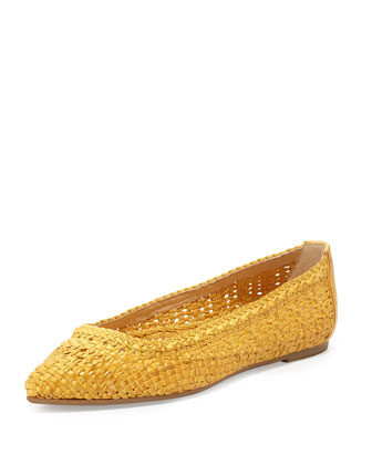 Regina Woven Leather Ballet Flat, Yellow