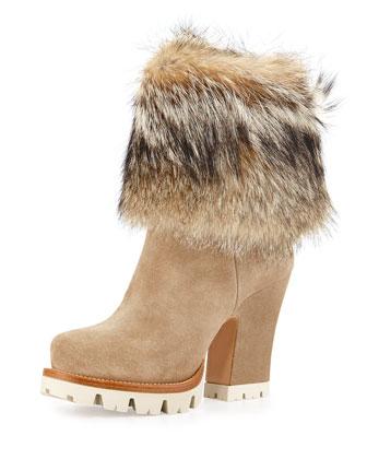 Suede Fur-Cuff Mid-Calf Boot, Deserto