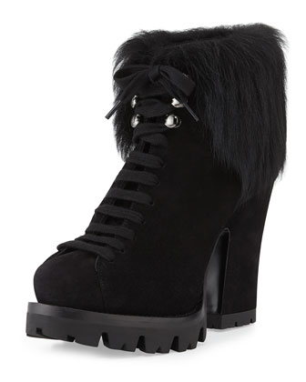 Fur-Trim Suede Lace-Up Ankle Boot