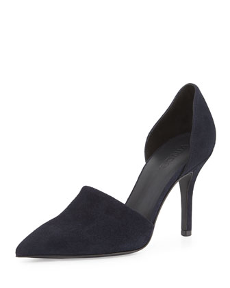 Claire Two-Piece Suede Pump, Ink