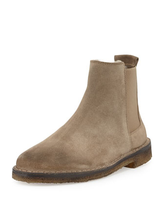 Cody Shearling-Lined Suede Chelsea Boot, Flint