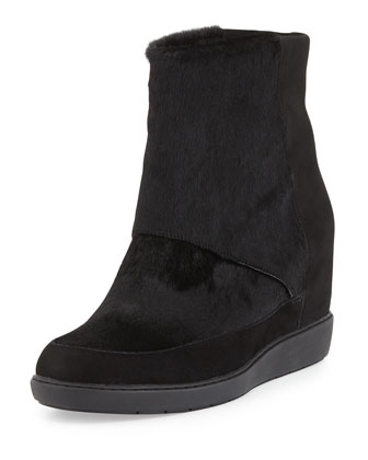Holly Calf Hair Slip-On Wedge Bootie, Black