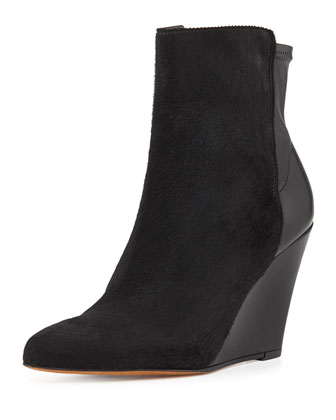 Lanie Calf Hair Wedge Boot, Black