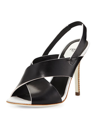 Crisscross Slingback Sandal, Nero/Bianco