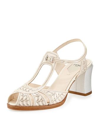 Patent Cutout Chunky Heel Sandal, Nudo/Bianco