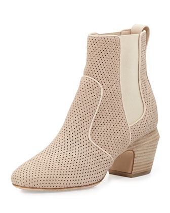 Perforated Leather Ankle Boot, Nude