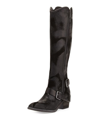 Dela Vintage Suede Side-Zip Boot, Black