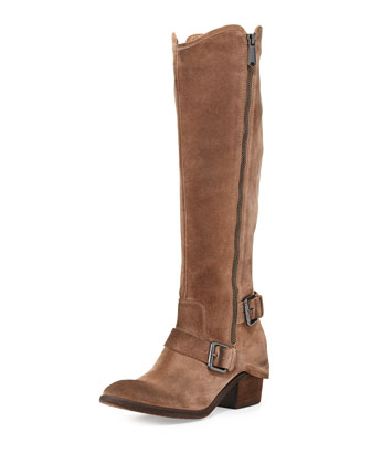 Dela Vintage Suede Side-Zip Boot, Taupe