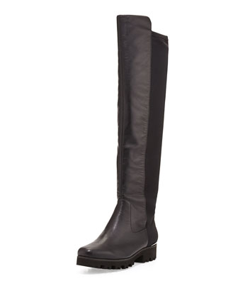 Roz Leather Over-the-Knee Boot, Black