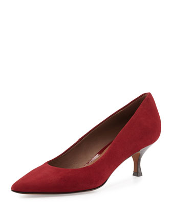 Rome Suede Low-Heel Pump, Burgundy