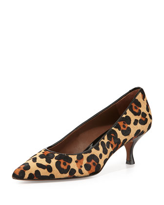 Rome Leopard-Print Calf Hair Pump, Black/Natural