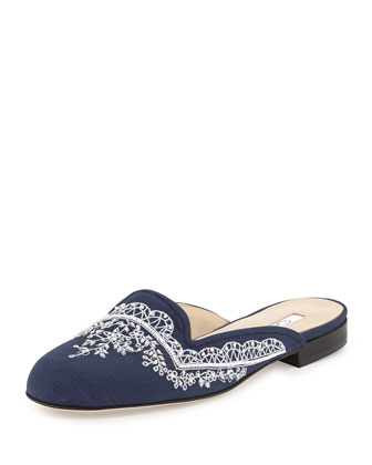 Elsa Embroidered Mule Slide, Navy