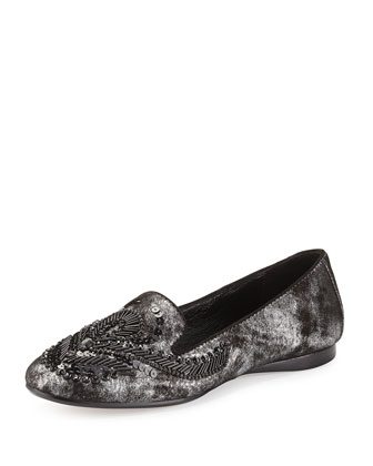 Dolin Beaded Metallic Loafer, Gunmetal