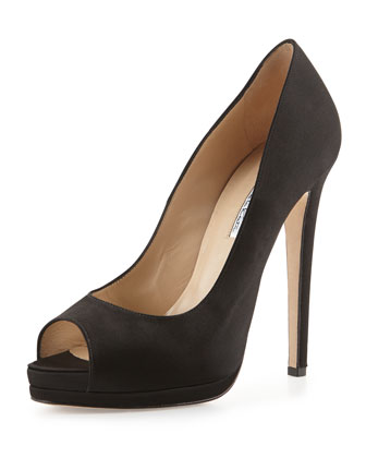 Karinalow Open-Toe Satin Pump, Black
