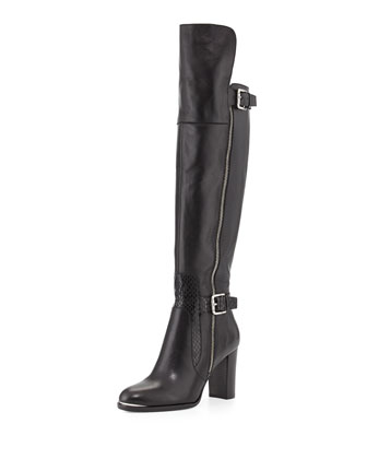 Quinto Leather Knee Boot, Black
