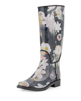 Karriner Opulent Bloom Print Rubber Boot, Black/Multi