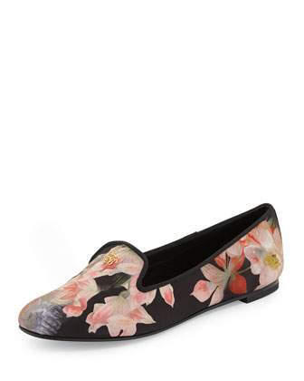 Opulent Bloom Floral-Print Satin Loafer