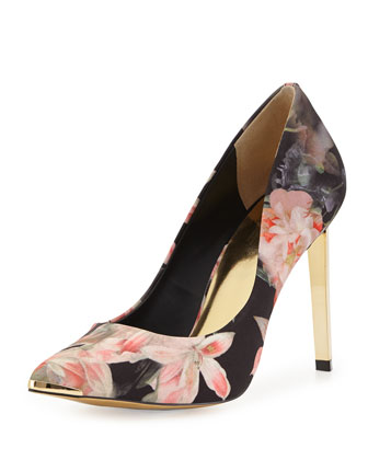 Opulent Bloom-Print Satin Pump