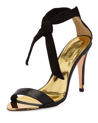 Sackina Suede Combo Tie Sandal, Black