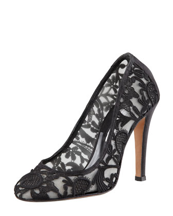Satin-Heel Lace Mesh Pump, Black