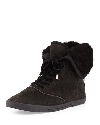 Marist Shearling-Lined Sneaker, Black