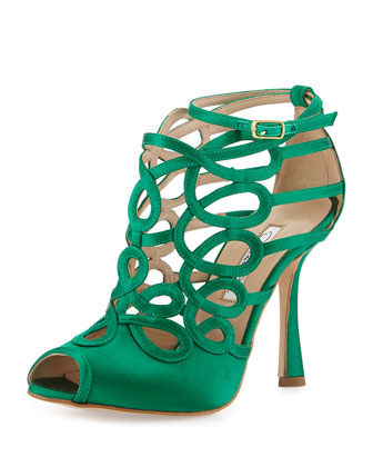 Napo Satin Swirl Cage Sandal, Teal