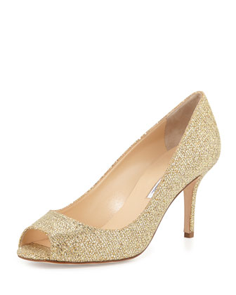 Nicoletta Metallic Open-Toe Pump, Gold
