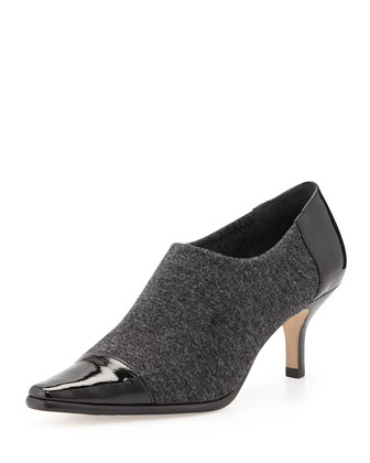 Levy Stretch Low-Heel Bootie, Gray/Black