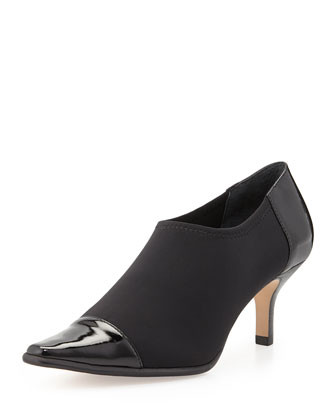 Levy Stretch Low-Heel Bootie, Black