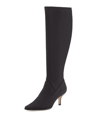 Luca Stretch-Crepe Tall Boot, Black